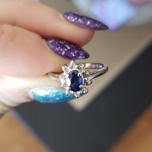Diamonds &Natural Blue Sapphire Ring size 5.5